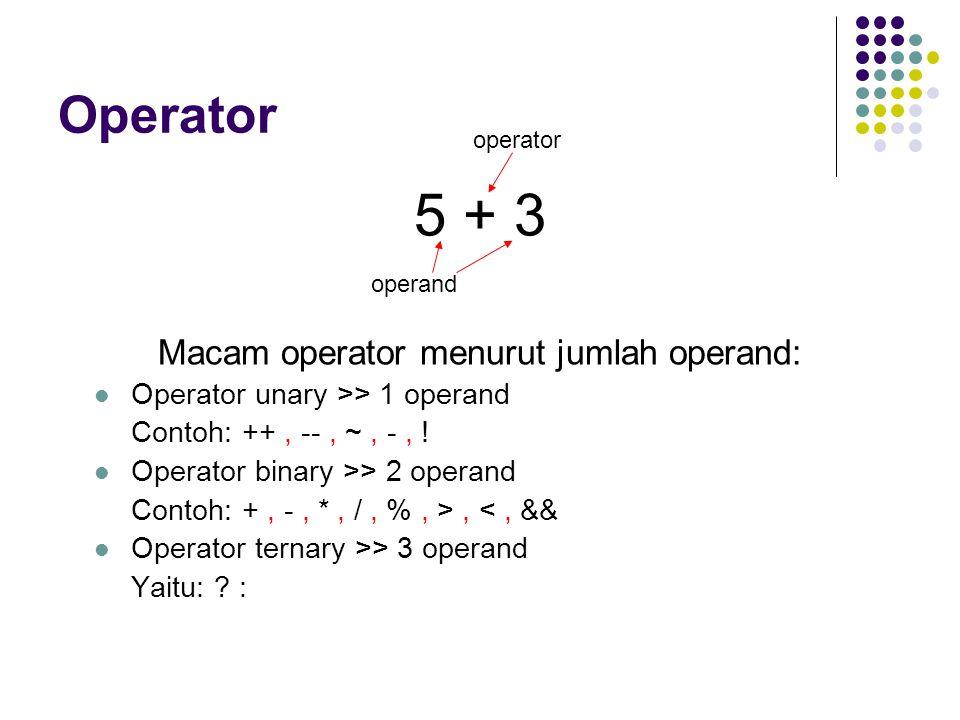 Macam operator menurut jenis operasi: Operator Aritmetika OperatorPenggunaanDeskripsi +Op1 + Op2Menambahkan Op1 dengan Op2 -Op1 - Op2Mengurangkan Op1 dengan Op2 *Op1 * Op2Mengalikan Op1 dengan Op2 /Op1 / Op2Membagi Op1 dengan Op2 %Op1 % Op2Menghasilkan sisa hasil bagi antara Op1 dengan Op2 ++Op++Op dinaikkan nilainya 1 setelah dilakukan operasi pada Op ++++OpOp dinaikkan nilainya 1 sebelum dilakukan operasi pada Op --Op--Op diturunkan nilainya 1 setelah dilakukan operasi pada Op ----OpOp diturunkan nilainya 1 sebelum dilakukan operasi pada Op --OpMengubah nilai Op menjadi negasinya, jika Op positif maka menjadi negatif, jika Op negatif menjadi positif