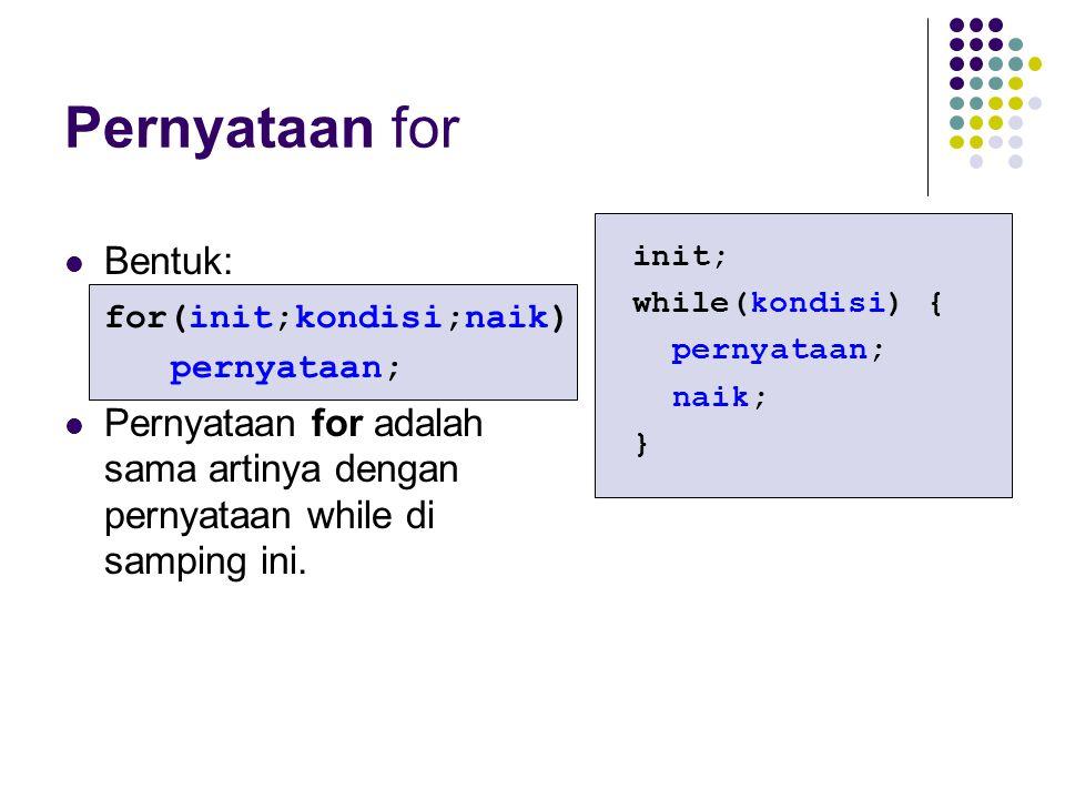 Pernyataan for Bentuk: for(init;kondisi;naik) pernyataan; Pernyataan for adalah sama artinya dengan pernyataan while di samping ini. init; while(kondi