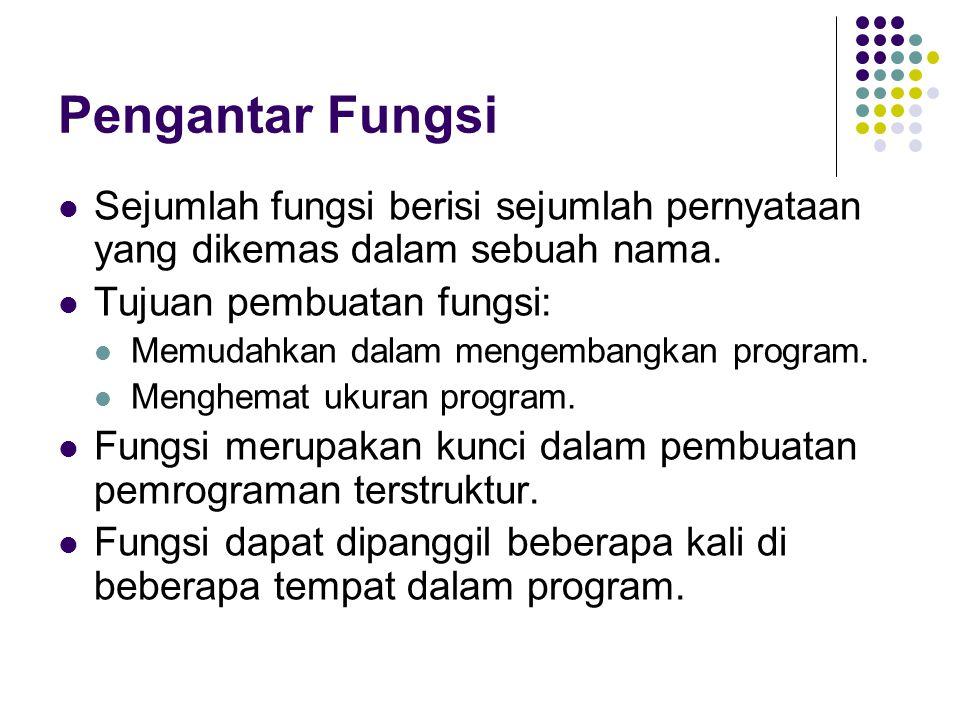 Pengantar Fungsi Sejumlah fungsi berisi sejumlah pernyataan yang dikemas dalam sebuah nama. Tujuan pembuatan fungsi: Memudahkan dalam mengembangkan pr