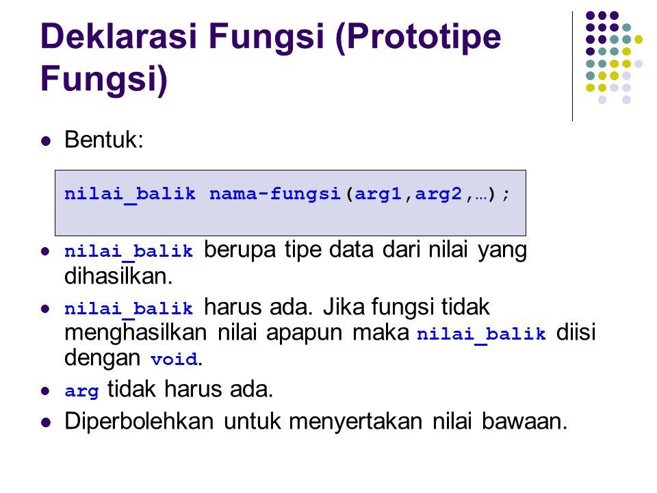 Deklarasi Fungsi (Prototipe Fungsi) Bentuk: nilai_balik nama-fungsi(arg1,arg2,…); nilai_balik berupa tipe data dari nilai yang dihasilkan. nilai_balik