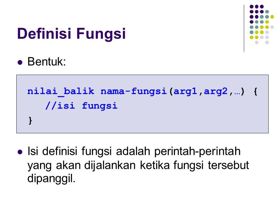 Definisi Fungsi Bentuk: nilai_balik nama-fungsi(arg1,arg2,…) { //isi fungsi } Isi definisi fungsi adalah perintah-perintah yang akan dijalankan ketika