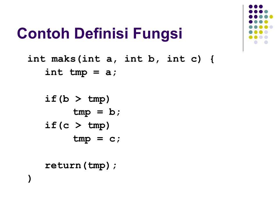 Contoh Definisi Fungsi int maks(int a, int b, int c) { int tmp = a; if(b > tmp) tmp = b; if(c > tmp) tmp = c; return(tmp); )