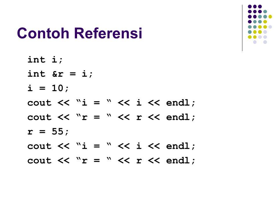 "Contoh Referensi int i; int &r = i; i = 10; cout << ""i = "" << i << endl; cout << ""r = "" << r << endl; r = 55; cout << ""i = "" << i << endl; cout << ""r"