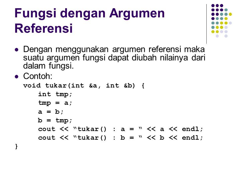 Fungsi dengan Argumen Referensi Dengan menggunakan argumen referensi maka suatu argumen fungsi dapat diubah nilainya dari dalam fungsi. Contoh: void t