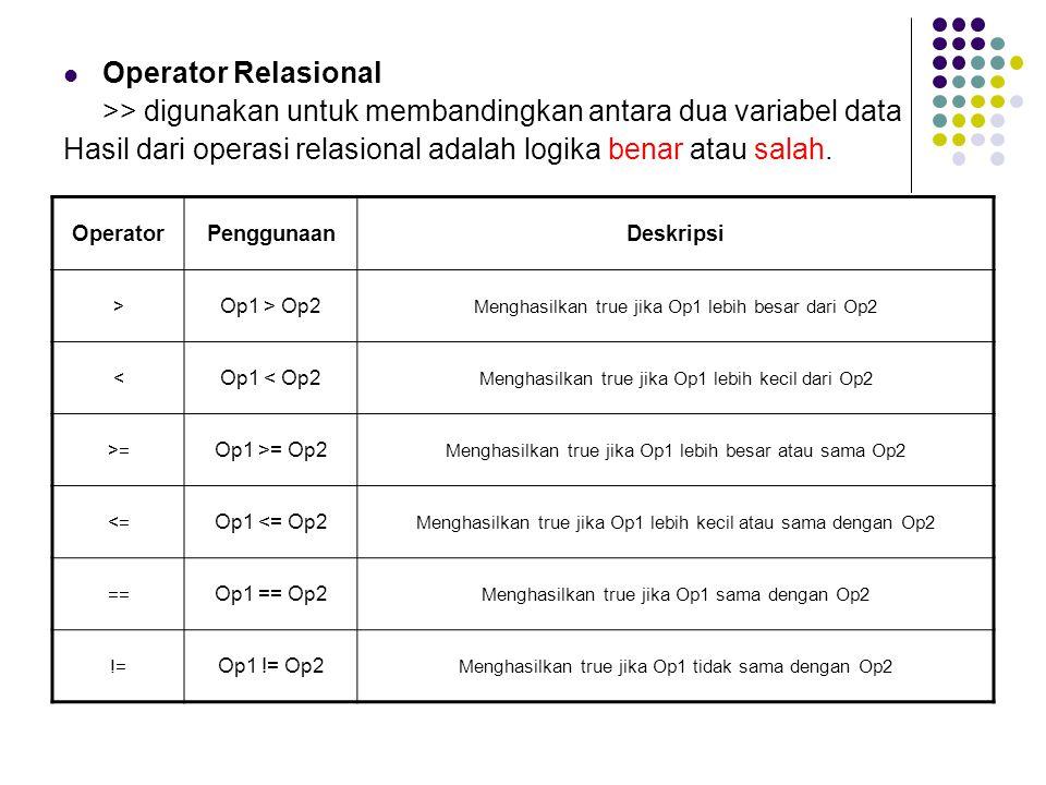 OperatorPenggunaanDeskripsi > Op1 > Op2 Menghasilkan true jika Op1 lebih besar dari Op2 < Op1 < Op2 Menghasilkan true jika Op1 lebih kecil dari Op2 >=