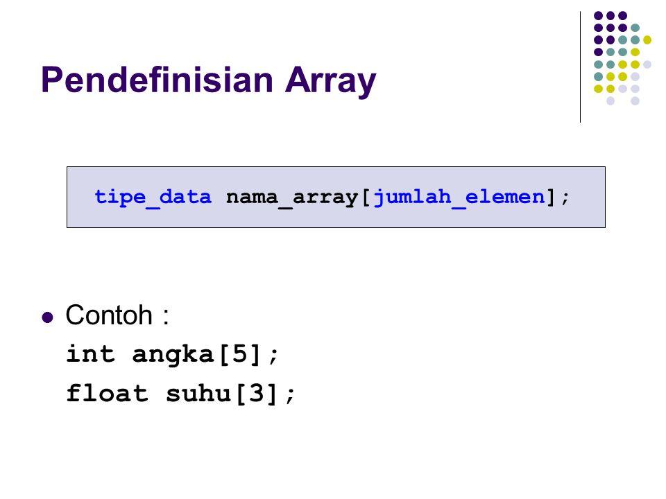 Pendefinisian Array Contoh : int angka[5]; float suhu[3]; tipe_data nama_array[jumlah_elemen];