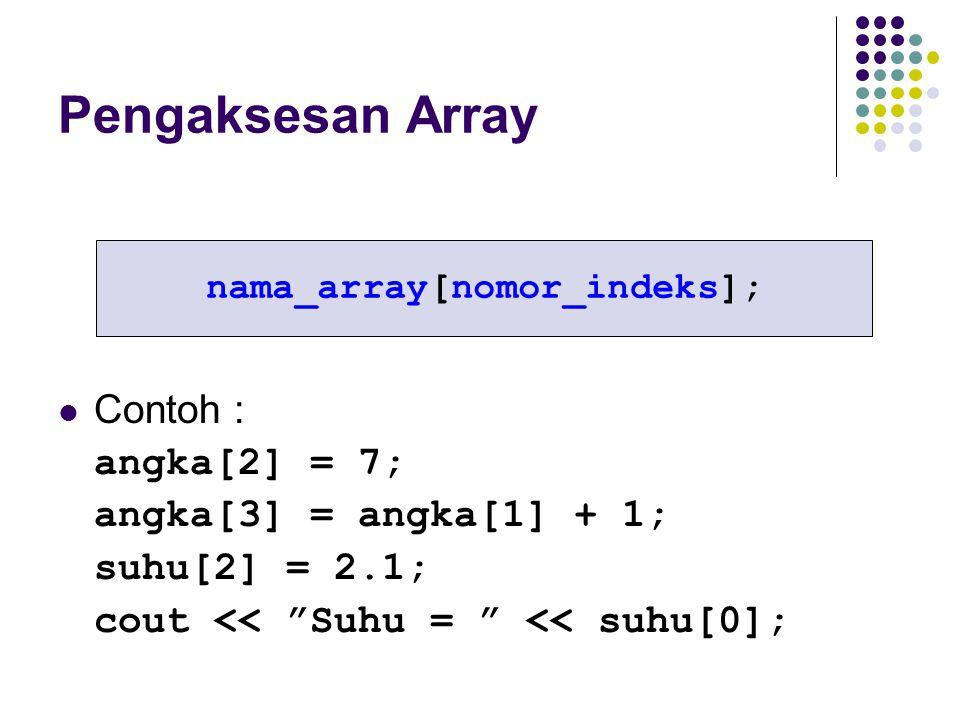 "Pengaksesan Array nama_array[nomor_indeks]; Contoh : angka[2] = 7; angka[3] = angka[1] + 1; suhu[2] = 2.1; cout << ""Suhu = "" << suhu[0];"