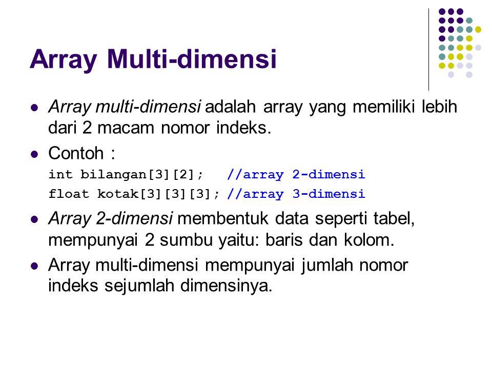 Array Multi-dimensi Array multi-dimensi adalah array yang memiliki lebih dari 2 macam nomor indeks. Contoh : int bilangan[3][2];//array 2-dimensi floa