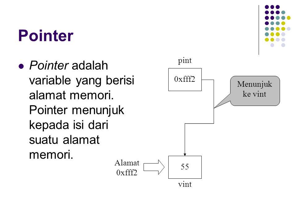 Pointer adalah variable yang berisi alamat memori. Pointer menunjuk kepada isi dari suatu alamat memori. 0xfff2 55 pint vint Menunjuk ke vint Alamat 0