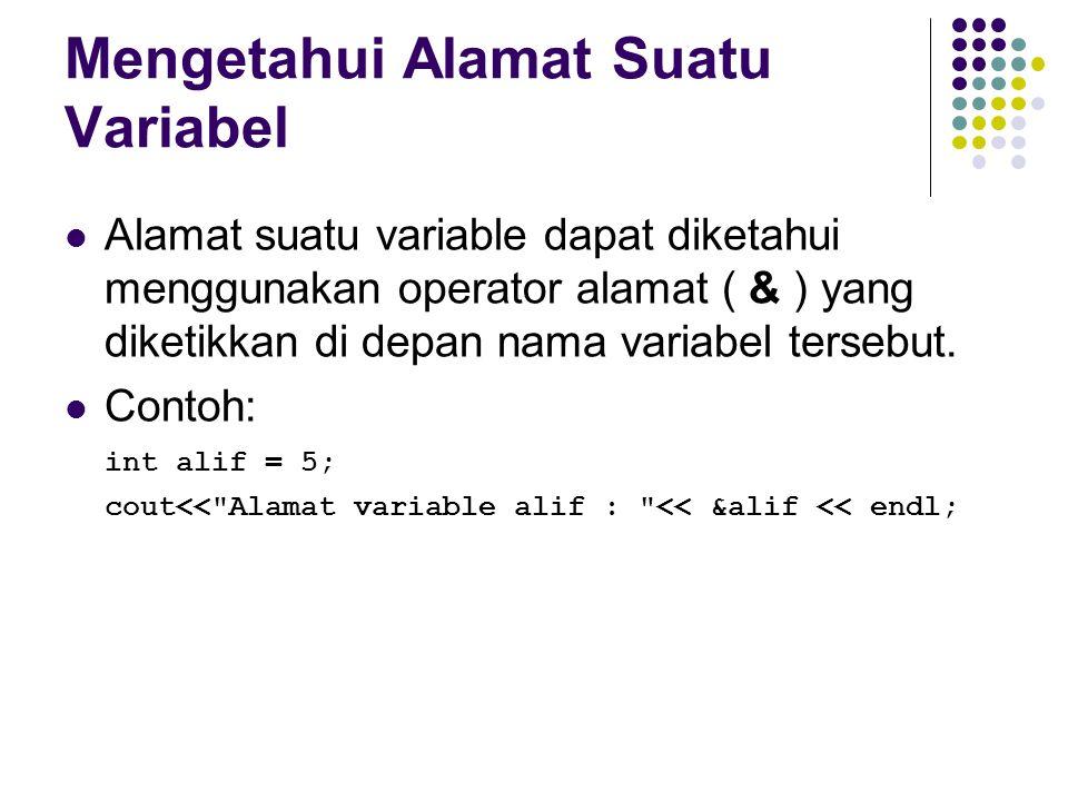 Mengetahui Alamat Suatu Variabel Alamat suatu variable dapat diketahui menggunakan operator alamat ( & ) yang diketikkan di depan nama variabel terseb