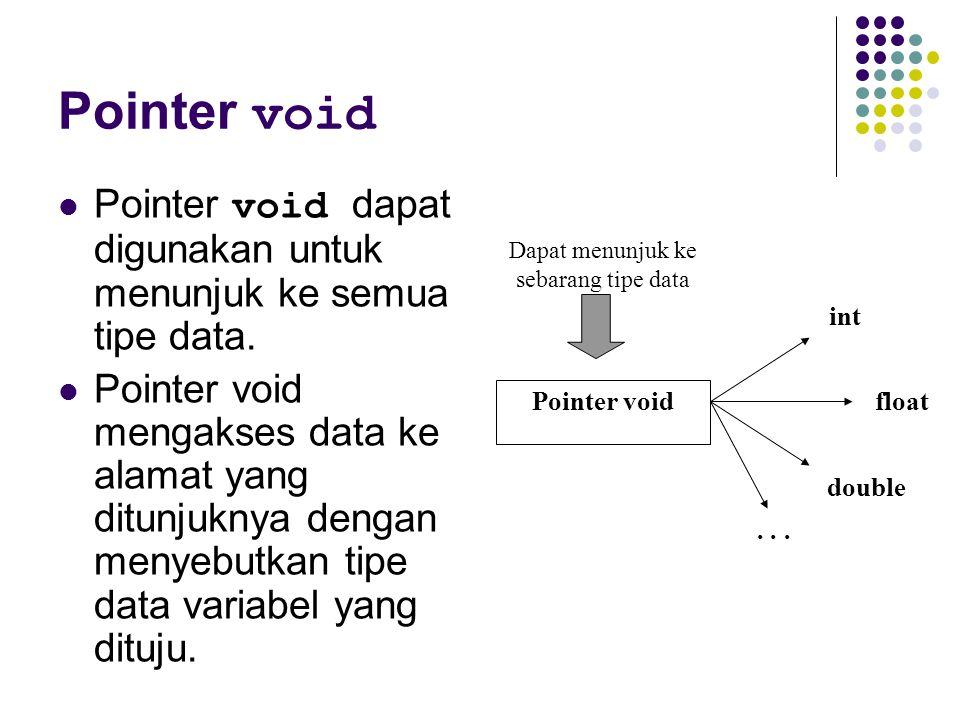 Pointer void Pointer void dapat digunakan untuk menunjuk ke semua tipe data. Pointer void mengakses data ke alamat yang ditunjuknya dengan menyebutkan