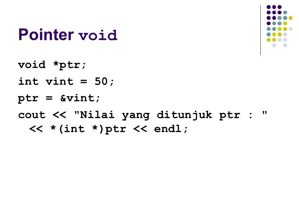 Pointer void void *ptr; int vint = 50; ptr = &vint; cout <<