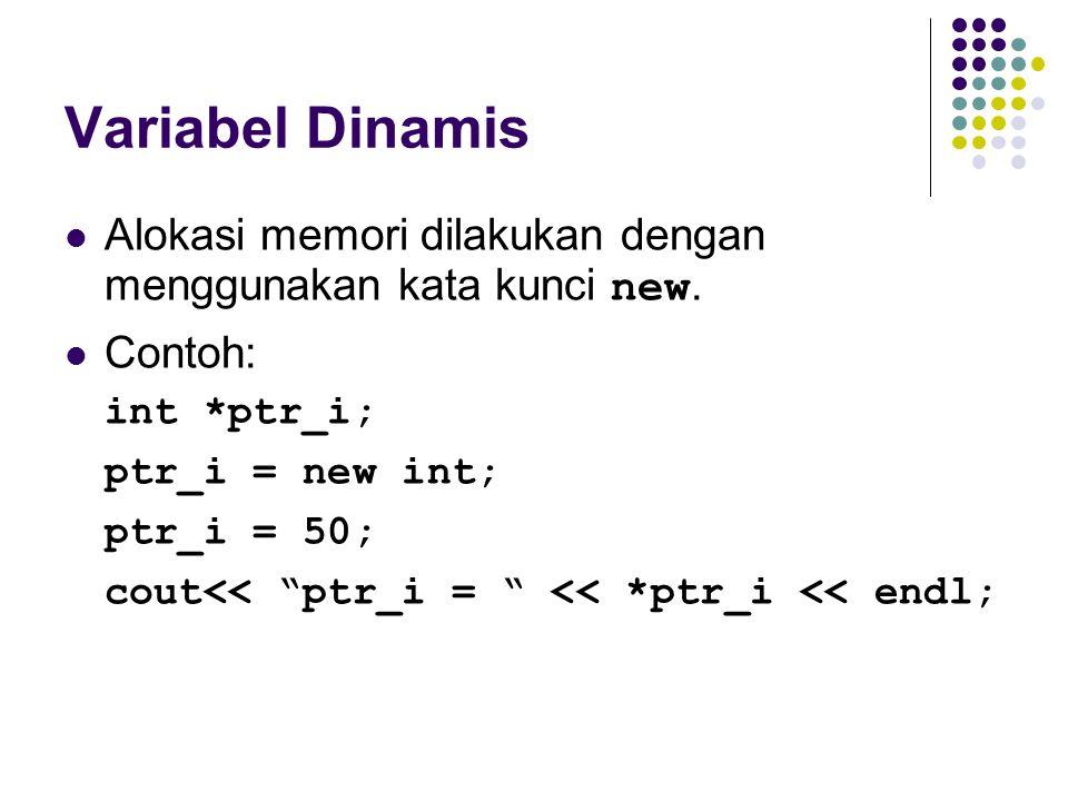 """Variabel Dinamis Alokasi memori dilakukan dengan menggunakan kata kunci new. Contoh: int *ptr_i; ptr_i = new int; ptr_i = 50; cout<< """"ptr_i = """" << *pt"""