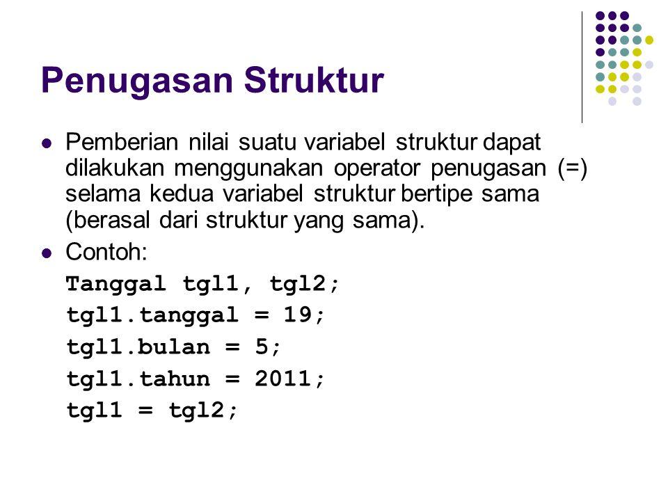 Penugasan Struktur Pemberian nilai suatu variabel struktur dapat dilakukan menggunakan operator penugasan (=) selama kedua variabel struktur bertipe s