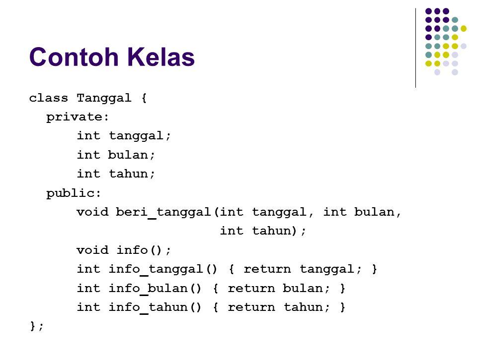 Contoh Kelas class Tanggal { private: int tanggal; int bulan; int tahun; public: void beri_tanggal(int tanggal, int bulan, int tahun); void info(); in
