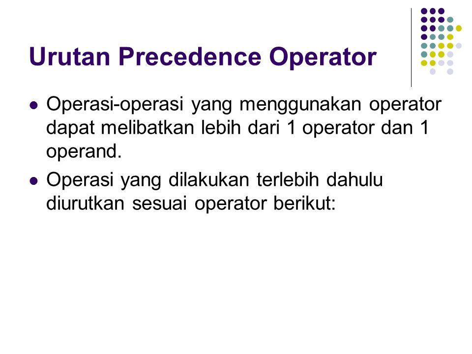 Urutan Precedence Operator Operasi-operasi yang menggunakan operator dapat melibatkan lebih dari 1 operator dan 1 operand. Operasi yang dilakukan terl