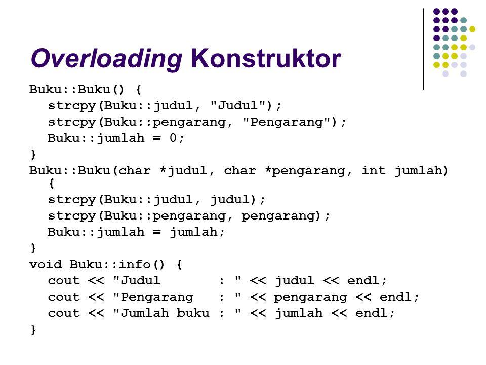 Overloading Konstruktor Buku::Buku() { strcpy(Buku::judul,