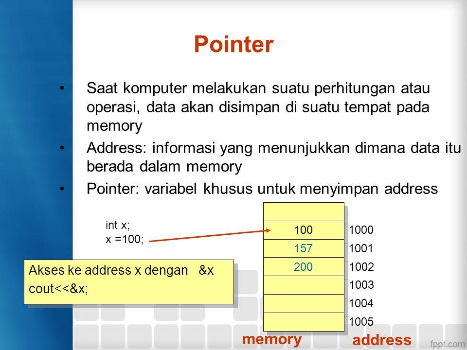 Saat komputer melakukan suatu perhitungan atau operasi, data akan disimpan di suatu tempat pada memory Address: informasi yang menunjukkan dimana data