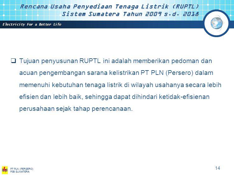 Electricity For a Better Life PT PLN (PERSERO) P3B SUMATERA 13 Rencana Usaha Penyediaan Tenaga Listrik (RUPTL) Sistem Sumatera Tahun 2009 s.d.