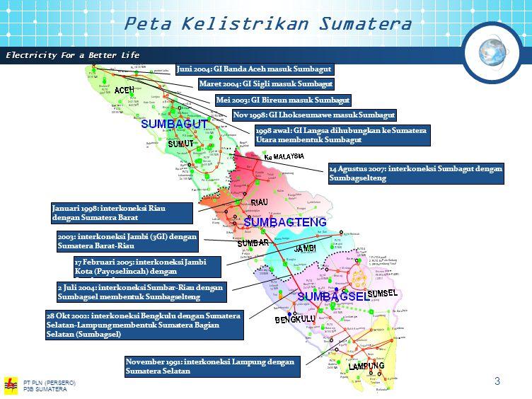 Electricity For a Better Life PT PLN (PERSERO) P3B SUMATERA 3 1998 awal: GI Langsa dihubungkan ke Sumatera Utara membentuk Sumbagut Nov 1998: GI Lhokseumawe masuk Sumbagut Mei 2003: GI Bireun masuk Sumbagut Maret 2004: GI Sigli masuk Sumbagut Juni 2004: GI Banda Aceh masuk Sumbagut November 1991: interkoneksi Lampung dengan Sumatera Selatan Januari 1998: interkoneksi Riau dengan Sumatera Barat 28 Okt 2002: interkoneksi Bengkulu dengan Sumatera Selatan-Lampung membentuk Sumatera Bagian Selatan (Sumbagsel) 2003: interkoneksi Jambi (3GI) dengan Sumatera Barat-Riau 17 Februari 2005: interkoneksi Jambi Kota (Payoselincah) dengan Sumbagselteng 14 Agustus 2007: interkoneksi Sumbagut dengan Sumbagselteng 2 Juli 2004: interkoneksi Sumbar-Riau dengan Sumbagsel membentuk Sumbagselteng Peta Kelistrikan Sumatera
