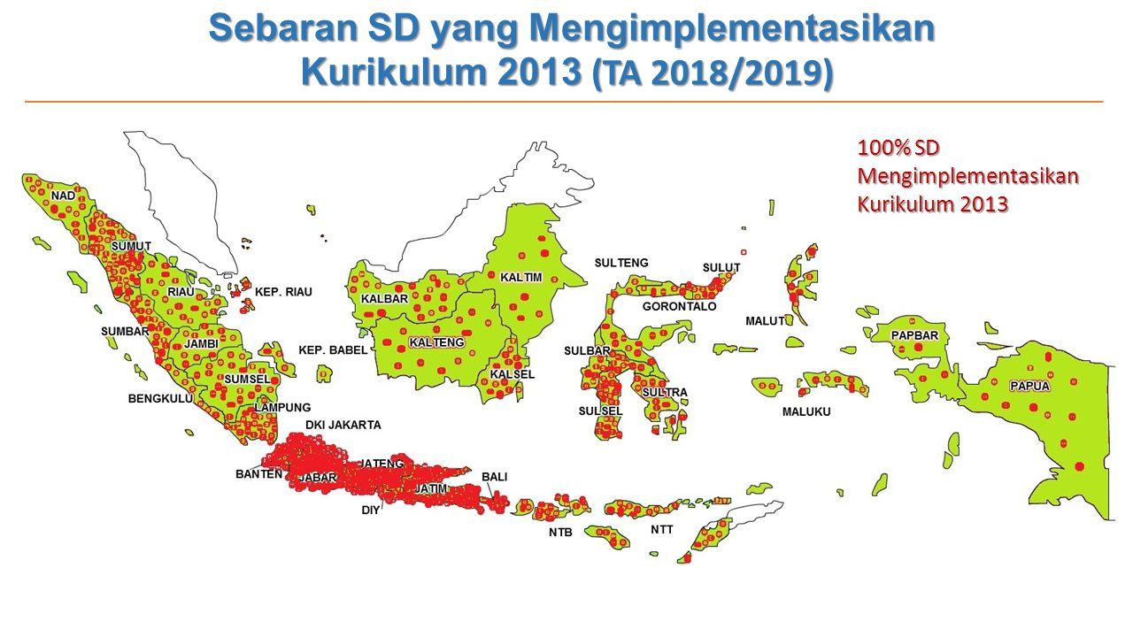 Sebaran SD yang Mengimplementasikan Kurikulum 2013 (TA 2018/2019) 100% SD Mengimplementasikan Kurikulum 2013