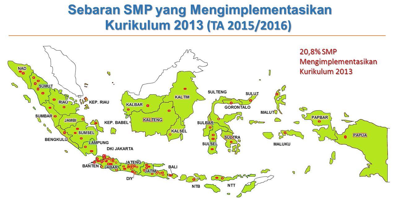 Sebaran SMP yang Mengimplementasikan Kurikulum 2013 (TA 2015/2016) 20,8% SMP Mengimplementasikan Kurikulum 2013