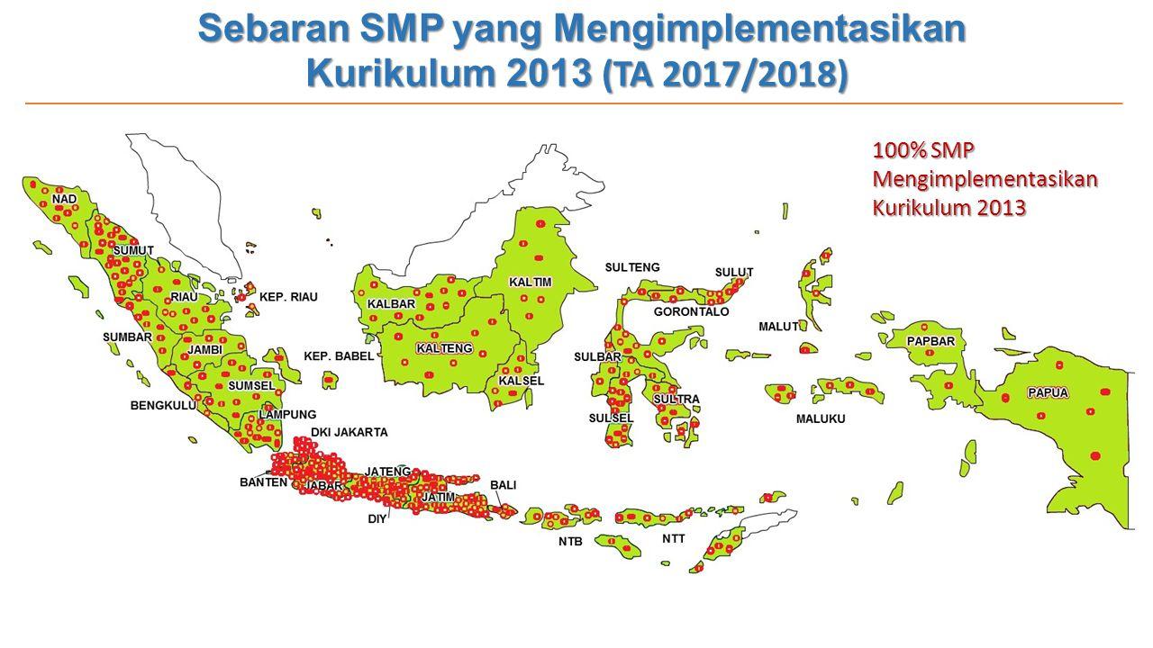 Sebaran SMP yang Mengimplementasikan Kurikulum 2013 (TA 2017/2018) 100% SMP Mengimplementasikan Kurikulum 2013