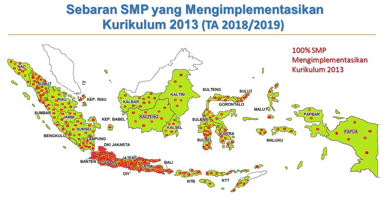 Sebaran SMP yang Mengimplementasikan Kurikulum 2013 (TA 2018/2019) 100% SMP Mengimplementasikan Kurikulum 2013