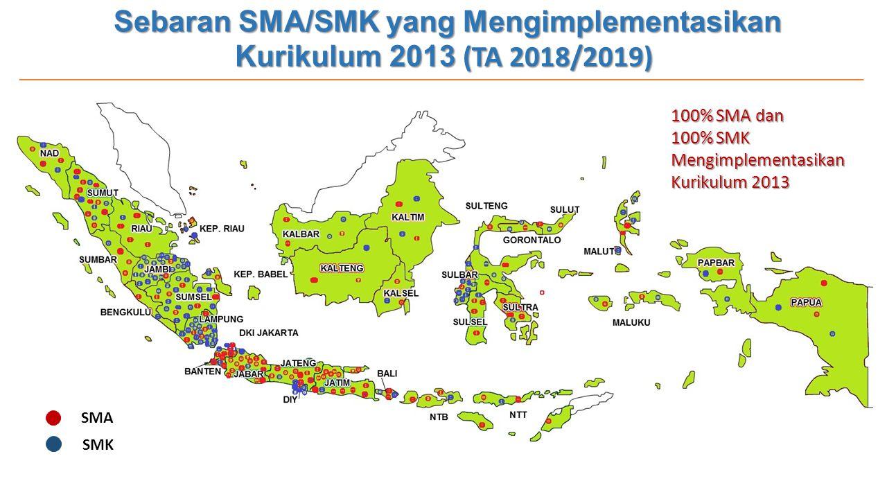 Sebaran SMA/SMK yang Mengimplementasikan Kurikulum 2013 (TA 2018/2019) 100% SMA dan 100% SMK Mengimplementasikan Kurikulum 2013 SMA SMK
