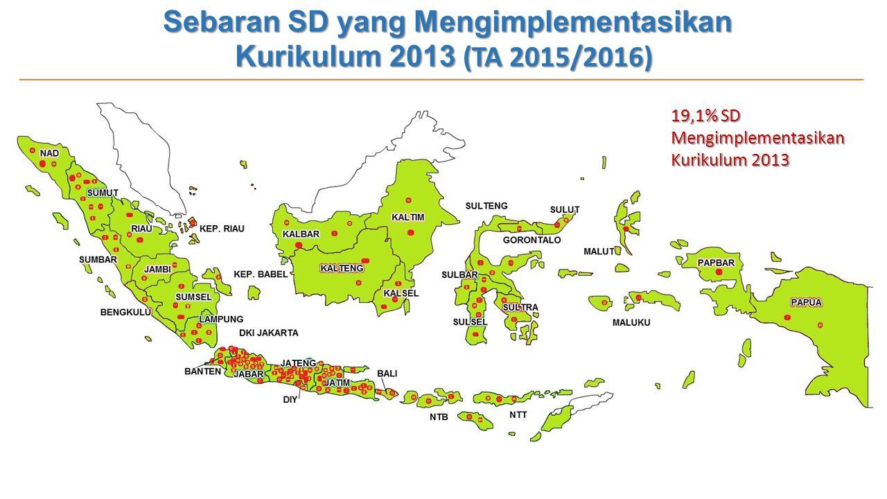 Sebaran SD yang Mengimplementasikan Kurikulum 2013 (TA 2015/2016) 19,1% SD Mengimplementasikan Kurikulum 2013