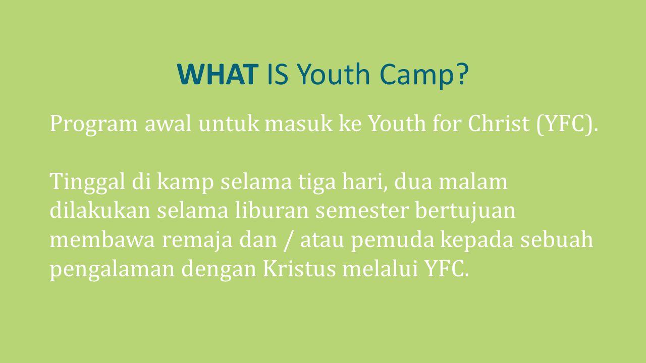 WHAT IS Youth Camp? Program awal untuk masuk ke Youth for Christ (YFC). Tinggal di kamp selama tiga hari, dua malam dilakukan selama liburan semester