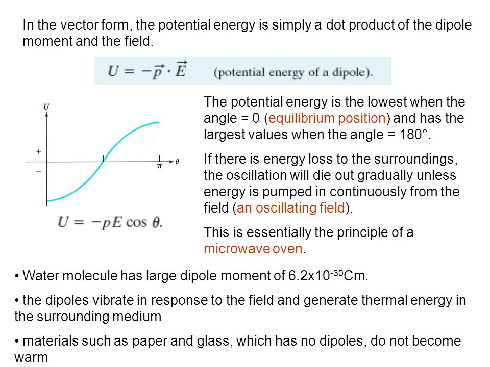 In the vector form, the potential energy is simply a dot product of the dipole moment and the field. The potential energy is the lowest when the angle