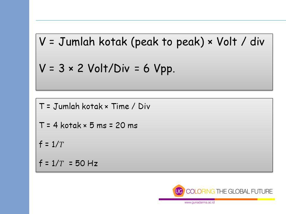 V = Jumlah kotak (peak to peak) × Volt / div V = 3 × 2 Volt/Div = 6 Vpp. V = Jumlah kotak (peak to peak) × Volt / div V = 3 × 2 Volt/Div = 6 Vpp. T =