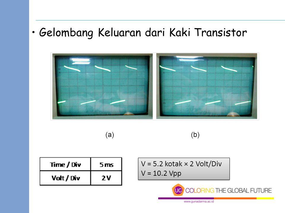 Gelombang Keluaran dari Kaki Transistor (a)(b) V = 5.2 kotak × 2 Volt/Div V = 10.2 Vpp V = 5.2 kotak × 2 Volt/Div V = 10.2 Vpp