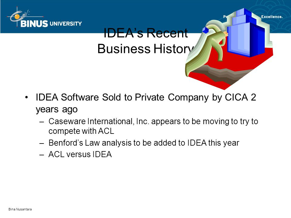 Bina Nusantara IDEA's Recent Business History IDEA Software Sold to Private Company by CICA 2 years ago –Caseware International, Inc.