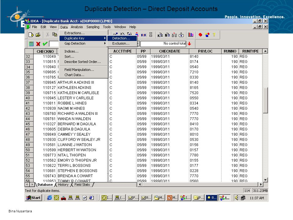Bina Nusantara Duplicate Detection – Direct Deposit Accounts