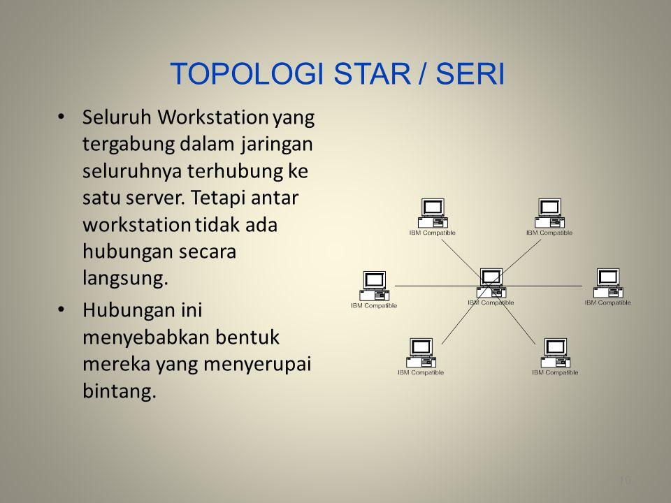 TOPOLOGI STAR / SERI Seluruh Workstation yang tergabung dalam jaringan seluruhnya terhubung ke satu server. Tetapi antar workstation tidak ada hubunga
