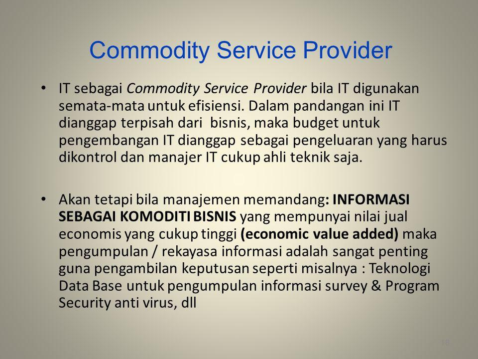 Commodity Service Provider IT sebagai Commodity Service Provider bila IT digunakan semata-mata untuk efisiensi. Dalam pandangan ini IT dianggap terpis