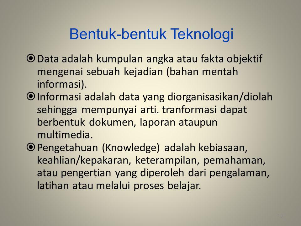 Bentuk-bentuk Teknologi  Data adalah kumpulan angka atau fakta objektif mengenai sebuah kejadian (bahan mentah informasi).  Informasi adalah data ya