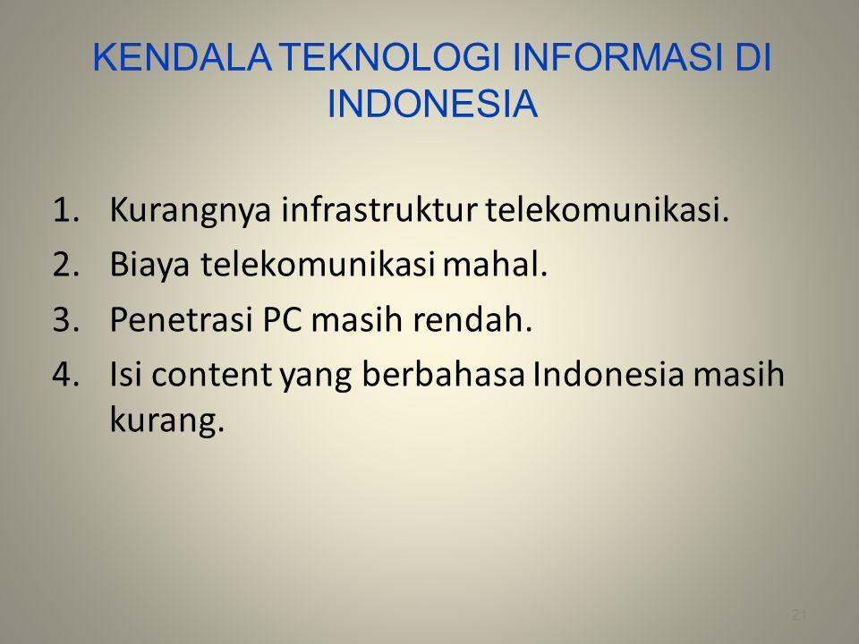 KENDALA TEKNOLOGI INFORMASI DI INDONESIA 1.Kurangnya infrastruktur telekomunikasi. 2.Biaya telekomunikasi mahal. 3.Penetrasi PC masih rendah. 4.Isi co