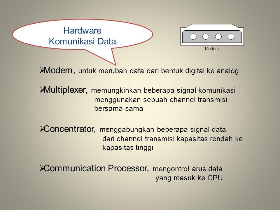 5 Hardware Komunikasi Data  Modem, untuk merubah data dari bentuk digital ke analog  Multiplexer, memungkinkan beberapa signal komunikasi menggunaka