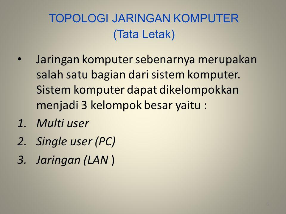 Multi User Sistem multi user merupakan sistem komputer yang dirancang sedemikian rupa sehingga memungkinkan banyak user dapat bekerja bersama-sama pada waktu yang sama dan menggunakan komputer yang sama.