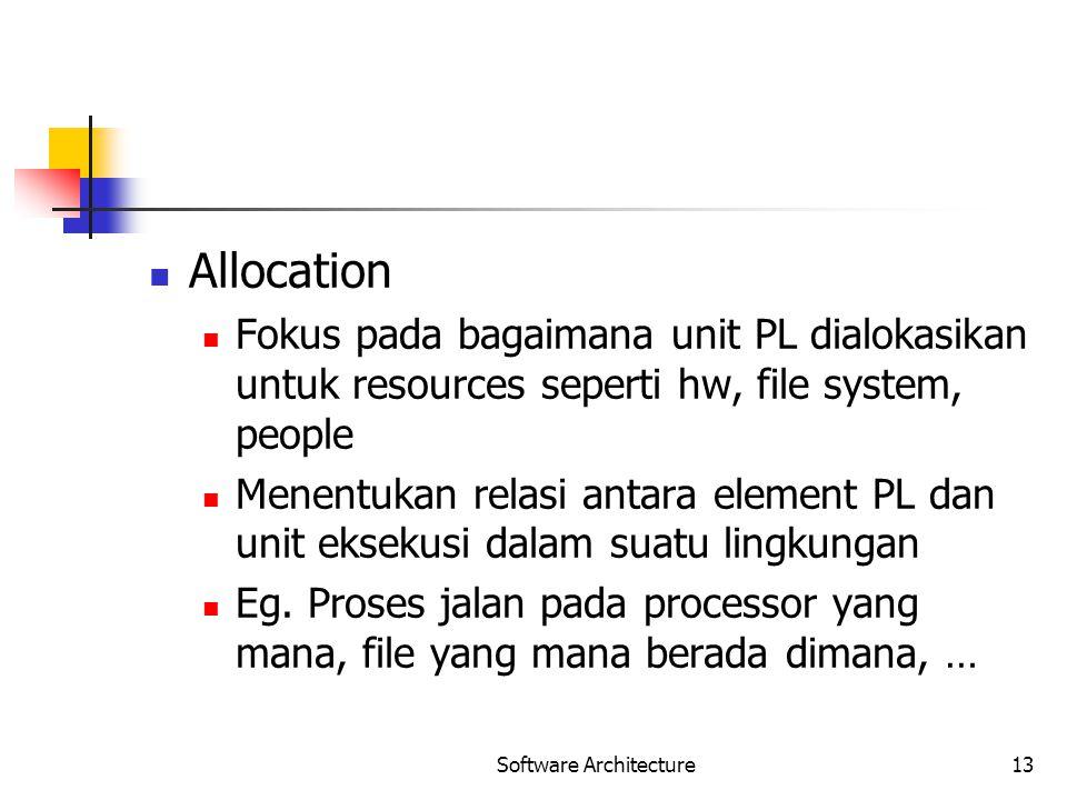 Software Architecture13 Allocation Fokus pada bagaimana unit PL dialokasikan untuk resources seperti hw, file system, people Menentukan relasi antara