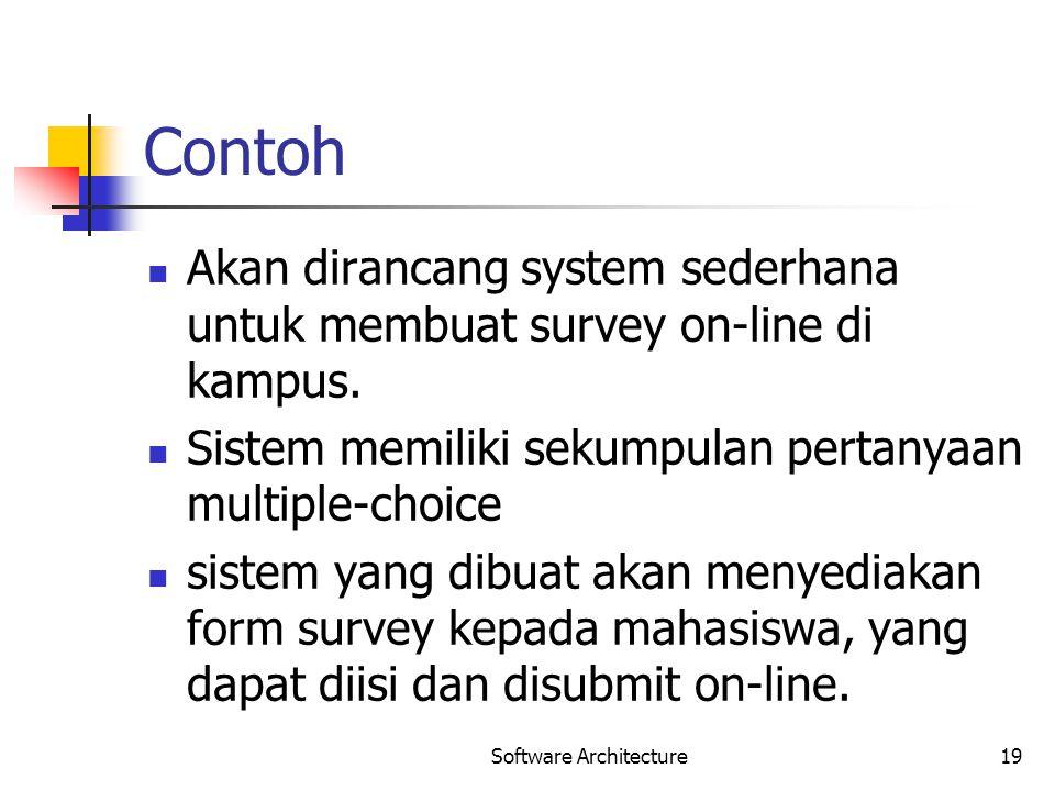 Contoh Akan dirancang system sederhana untuk membuat survey on-line di kampus. Sistem memiliki sekumpulan pertanyaan multiple-choice sistem yang dibua
