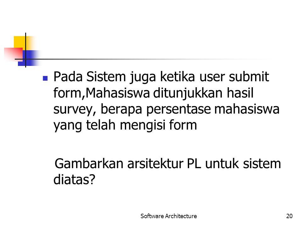 Pada Sistem juga ketika user submit form,Mahasiswa ditunjukkan hasil survey, berapa persentase mahasiswa yang telah mengisi form Gambarkan arsitektur