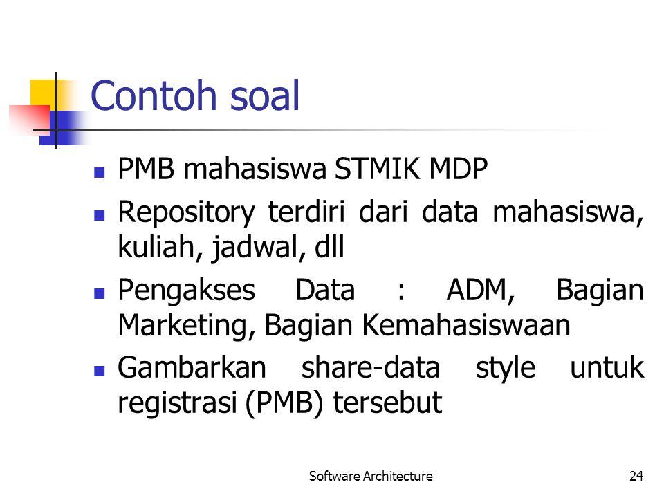 Contoh soal PMB mahasiswa STMIK MDP Repository terdiri dari data mahasiswa, kuliah, jadwal, dll Pengakses Data : ADM, Bagian Marketing, Bagian Kemahas