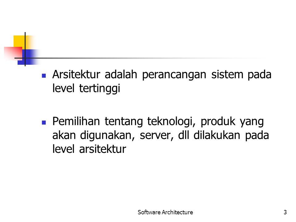 Software Architecture3 Arsitektur adalah perancangan sistem pada level tertinggi Pemilihan tentang teknologi, produk yang akan digunakan, server, dll