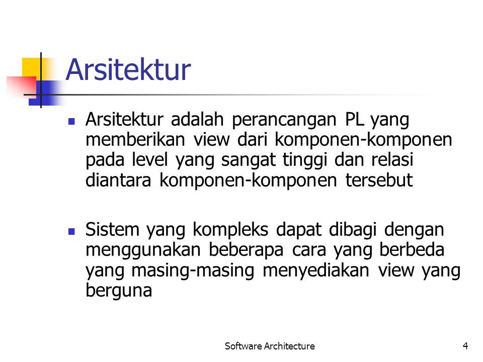Software Architecture4 Arsitektur Arsitektur adalah perancangan PL yang memberikan view dari komponen-komponen pada level yang sangat tinggi dan relas