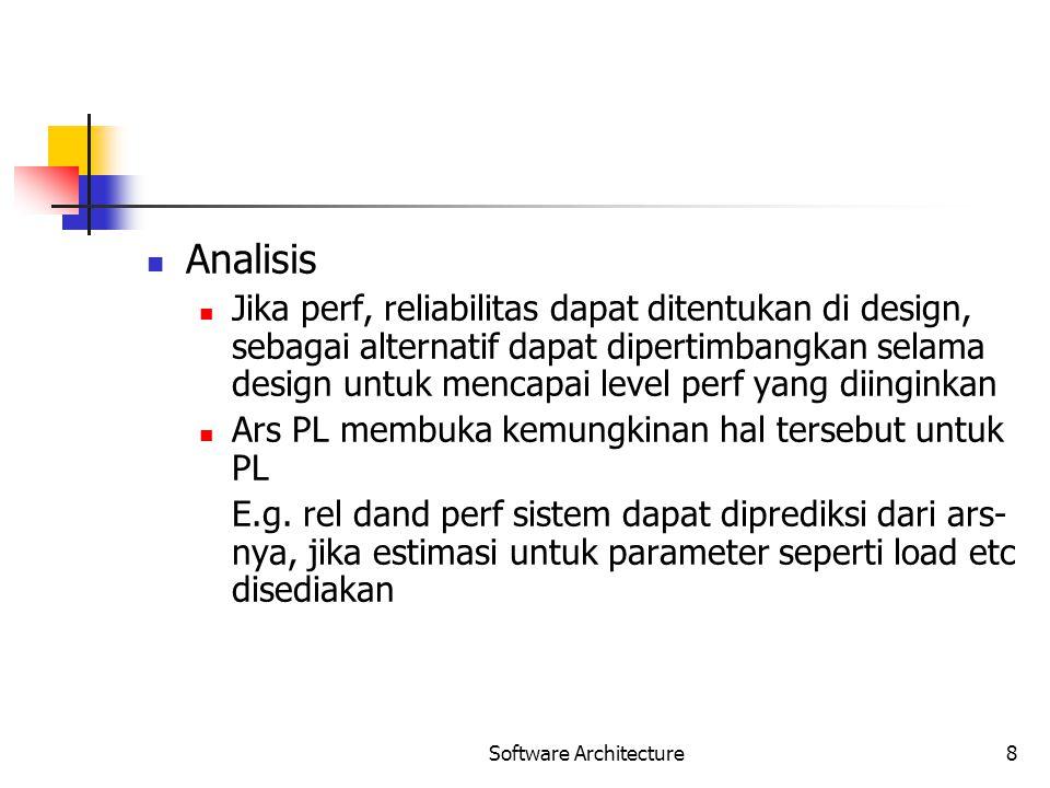 Software Architecture8 Analisis Jika perf, reliabilitas dapat ditentukan di design, sebagai alternatif dapat dipertimbangkan selama design untuk menca