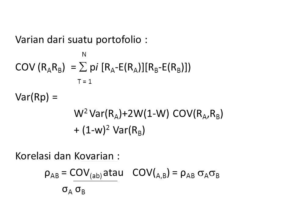 Varian dari suatu portofolio : N COV (R A R B ) =  pi [R A -E(R A )][R B -E(R B )]) T = 1 Var(Rp) = W 2 Var(R A )+2W(1-W) COV(R A,R B ) + (1-w) 2 Var(R B ) Korelasi dan Kovarian : ρ AB = COV (ab) atau COV( A,B ) = ρ AB  A  B σ A σ B